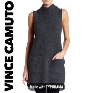 Vince Camuto Black cowl neck sweater tunic dress
